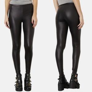 Topshop Black Faux Leather Leggings